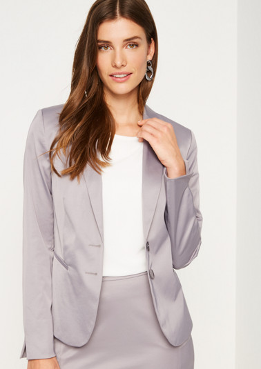 Satin-Businessblazer mit dekorativen Details