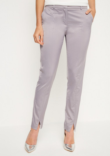 Matte-shiny satin trousers with fine details from comma