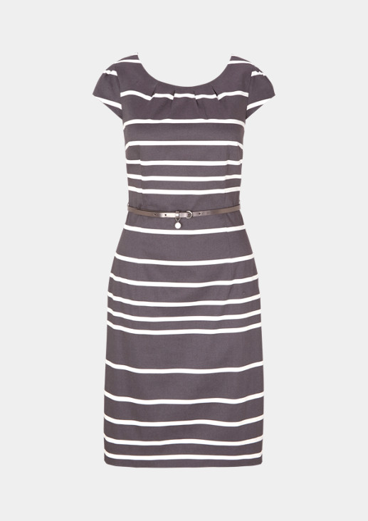Elegant satin dress in a striped look from comma