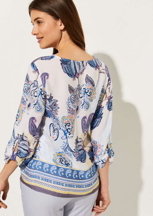 3/4-sleeve blouse with an elaborate all-over pattern from comma