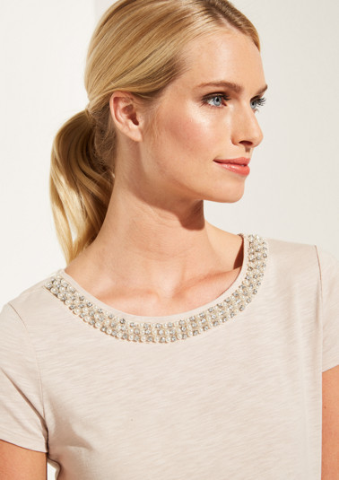 Jersey top with decorative beads from comma