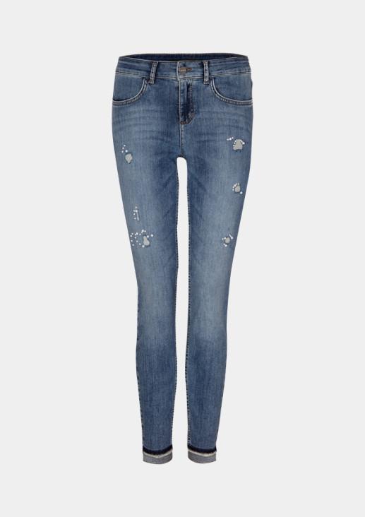 Jeans in 7/8-Länge mit Perlenverzierungen