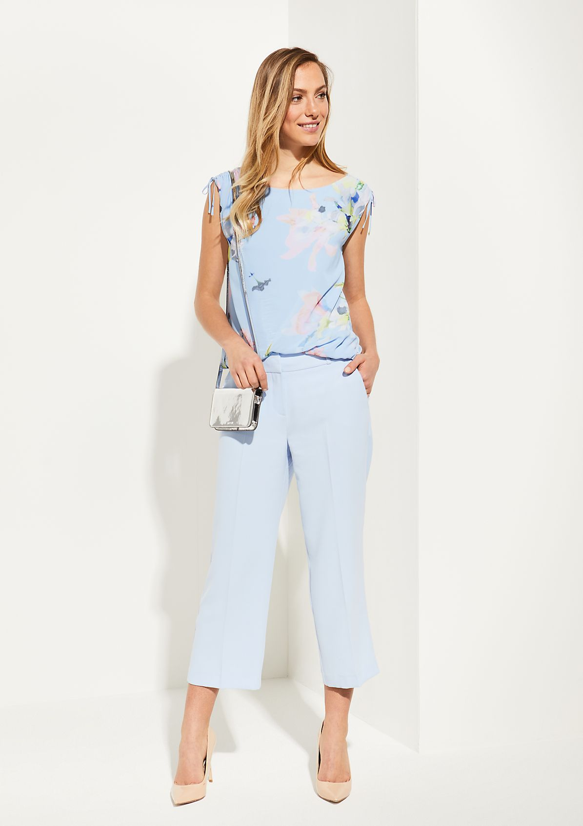 3/4-length crêpe trousers from comma