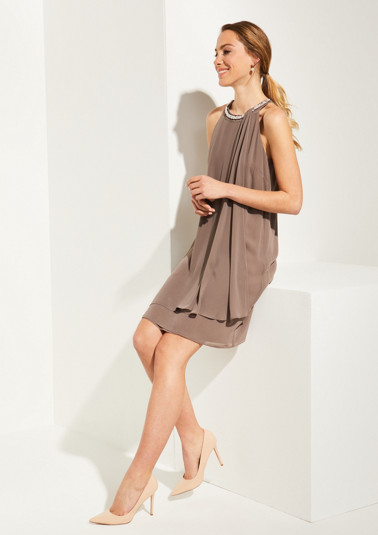 Crêpe dress with glittery beads from comma