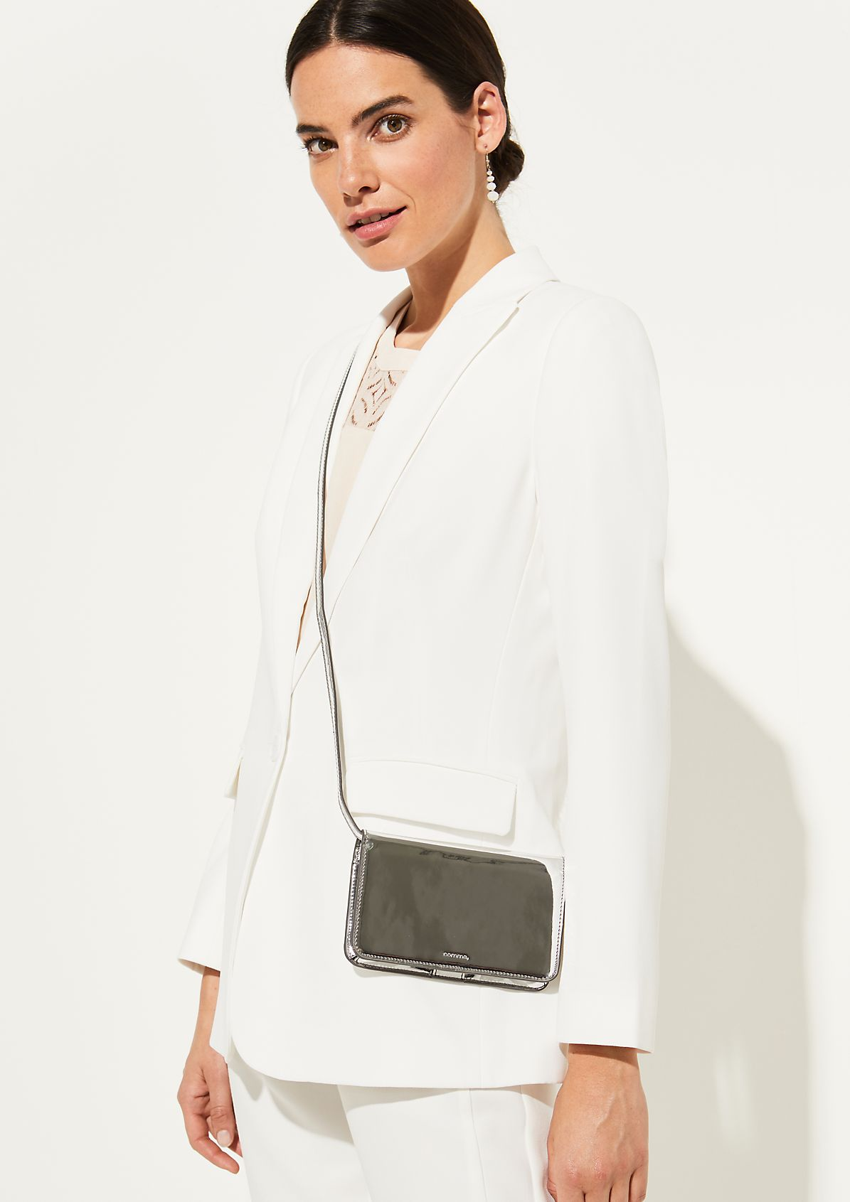 Silver-coloured, faux patent leather phone bag from comma