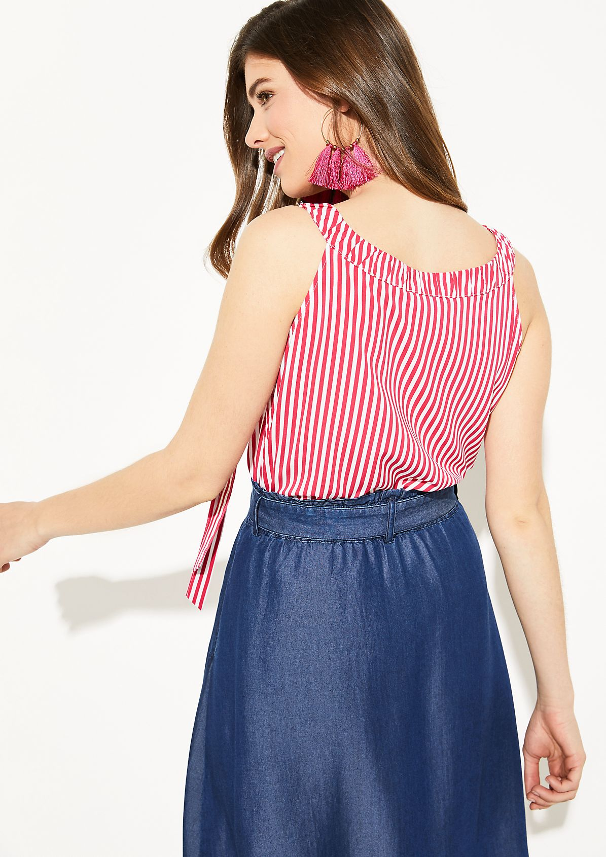 Lightweight blouse top with a vertical stripe pattern from comma