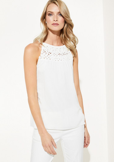Poplin top with decorative braided embellishments from comma