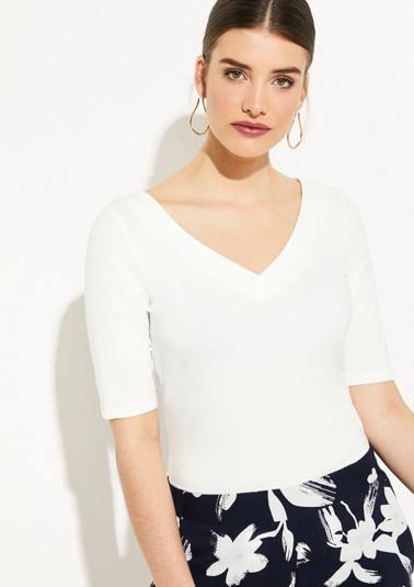 Kurzarm-Jerseyshirt mit V-Neck