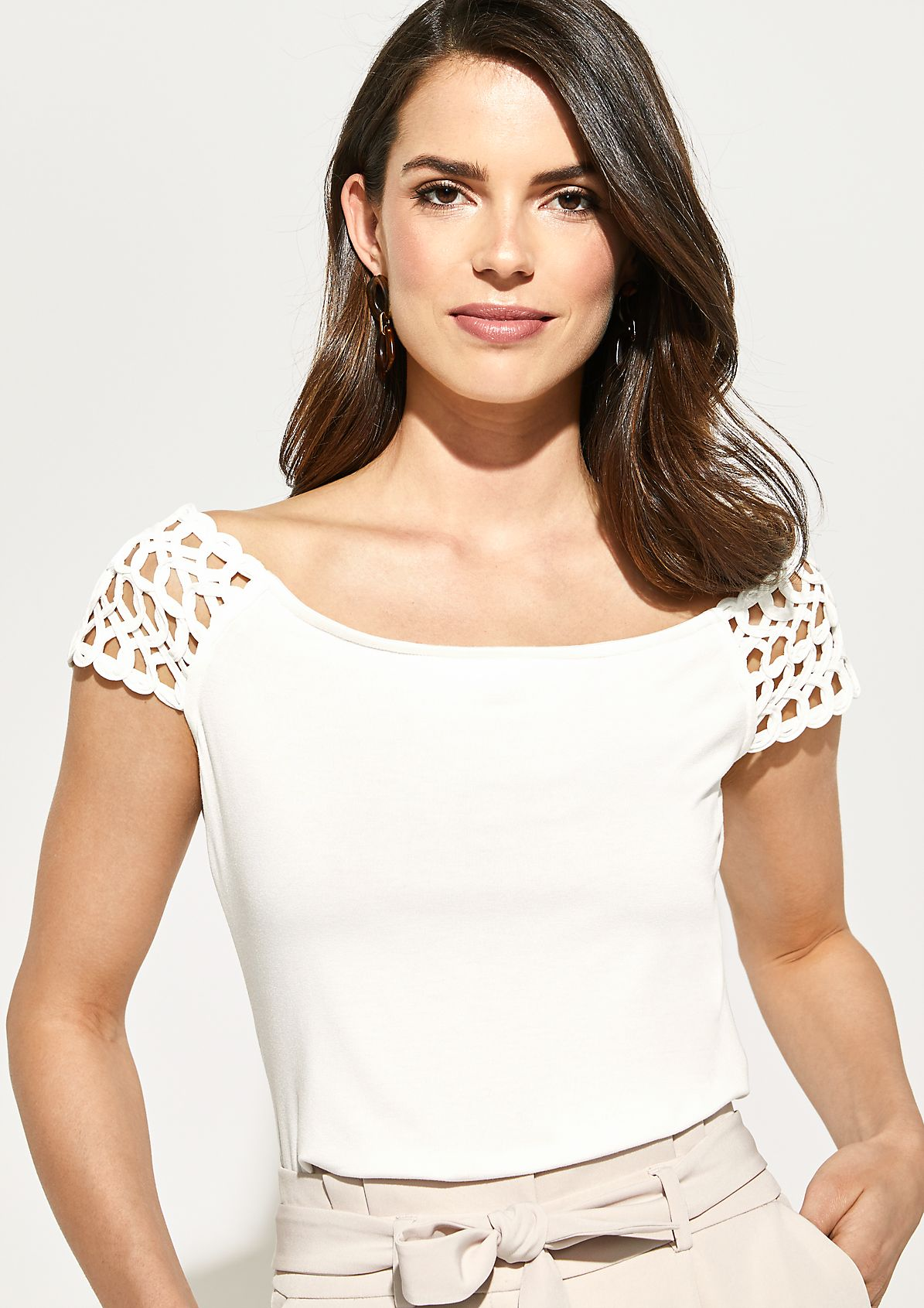 Off-the-shoulder jersey top with braided embellishments from comma