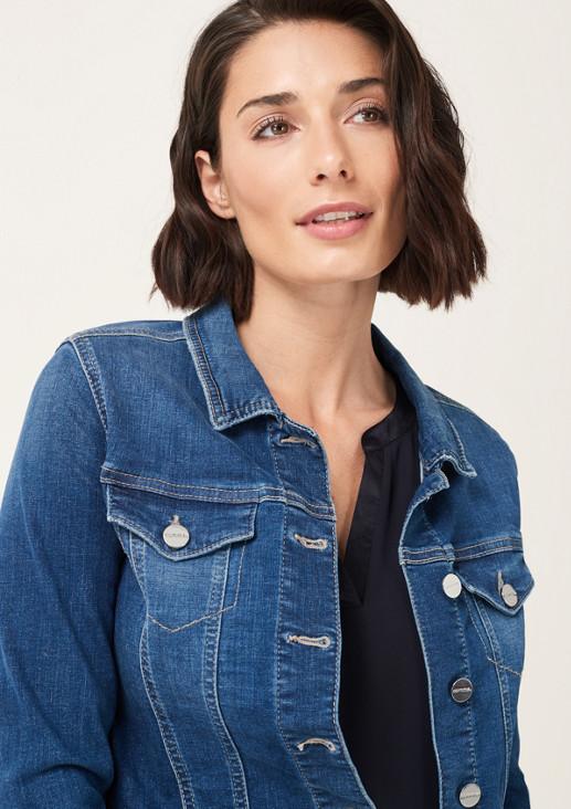 Kurze Jeansjacke im Used-Look