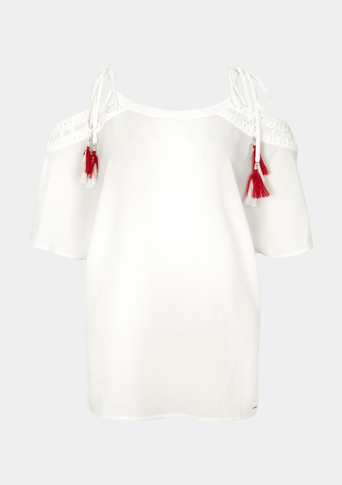 Off Shoulder-Tunika aus Krepp mit geflochtenen Blenden