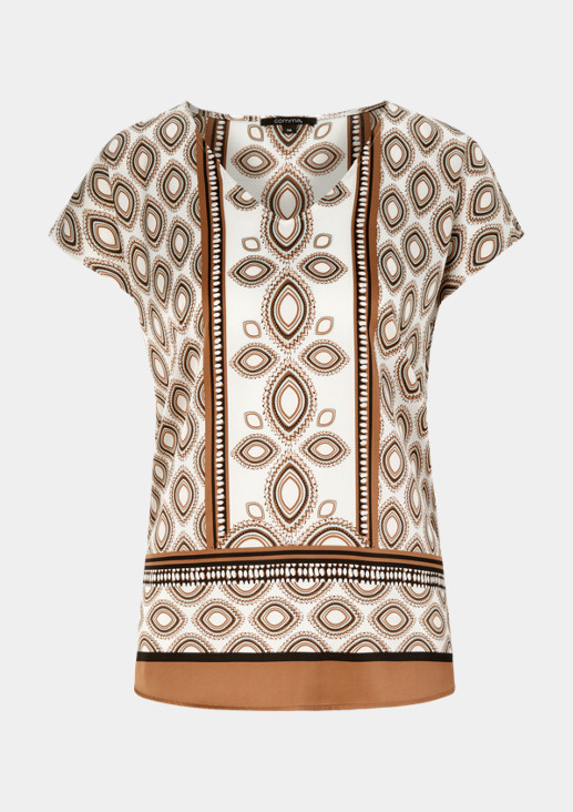 Edle Satin-Kurzarmbluse mit dekorativem Muster