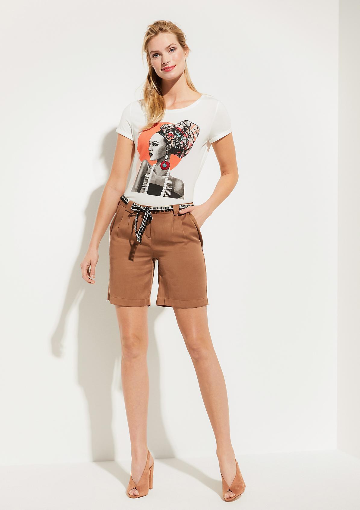 Kurzarmshirt aus Jersey mit dekorativem Frontprint