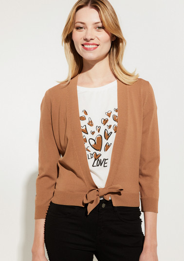 Cropped cardigan with 3/4-length sleeves from comma
