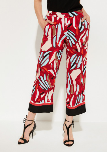 7/8-length trousers with a decorative all-over pattern from comma