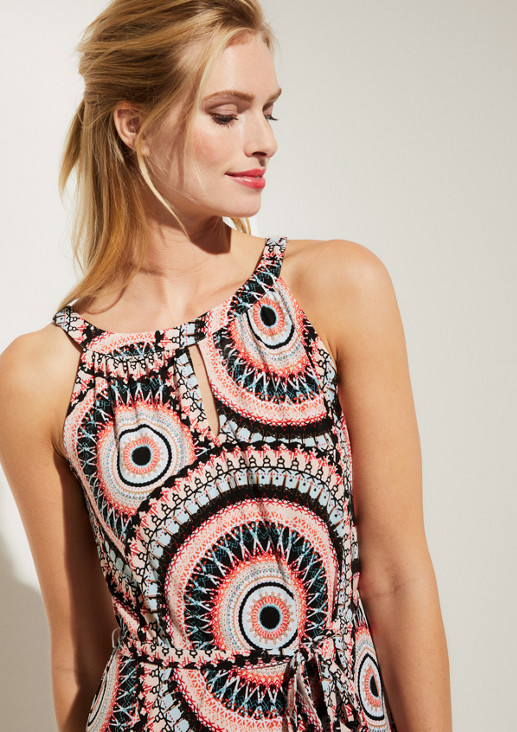 Jersey dress with an elaborate all-over pattern from comma