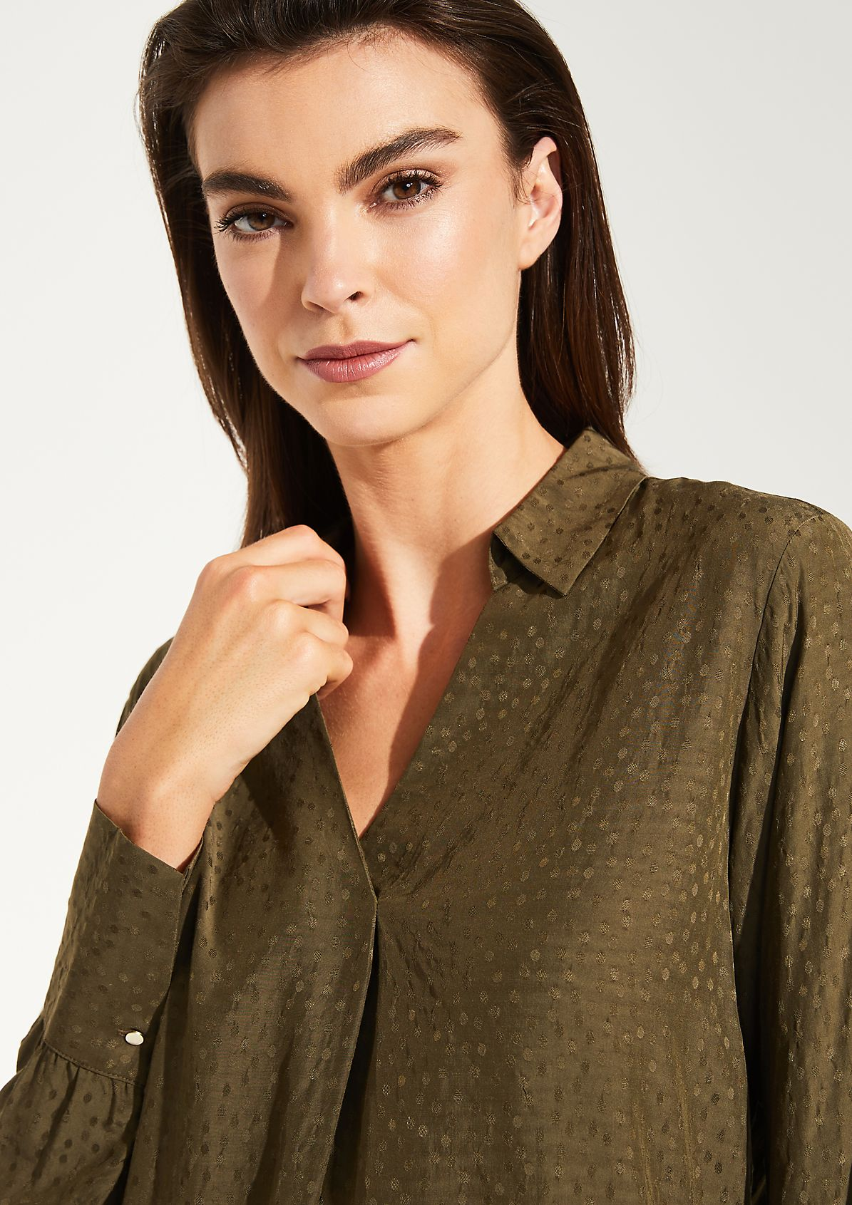 Long sleeve blouse with a fine tonal pattern from comma