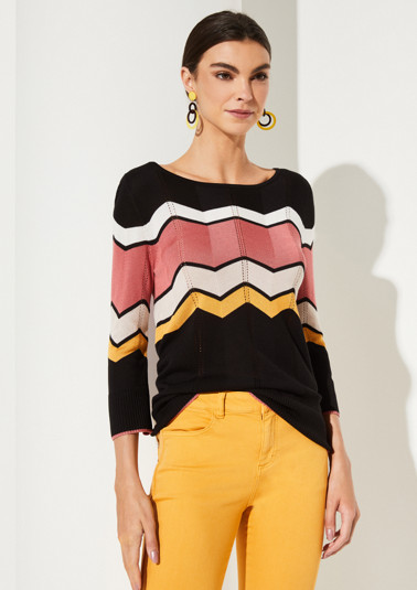 3/4-sleeve knit jumper with a zigzag pattern from comma