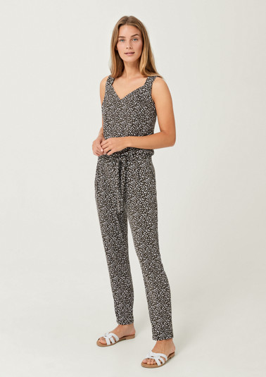 Jersey jumpsuit with a decorative minimalist pattern from comma
