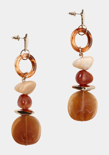Earrings with differently coloured gemstones from comma