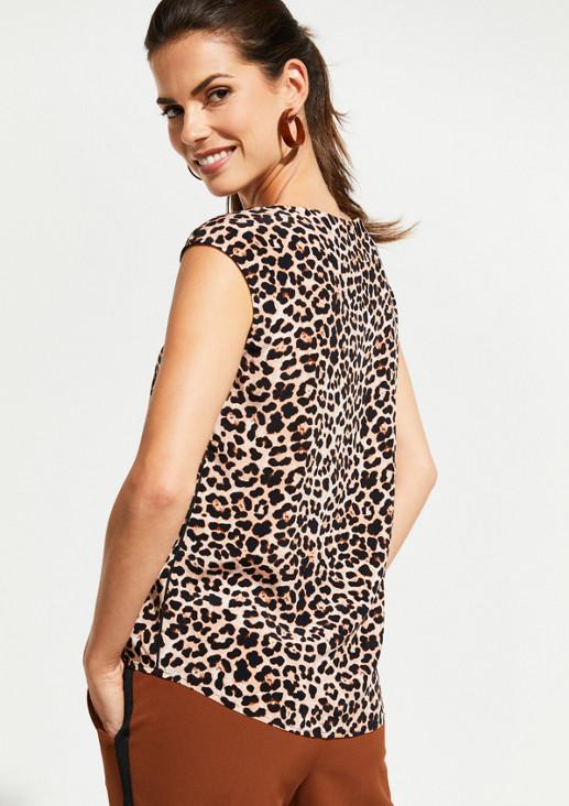 Kurzarmbluse mit extravagantem Leopardenmuster