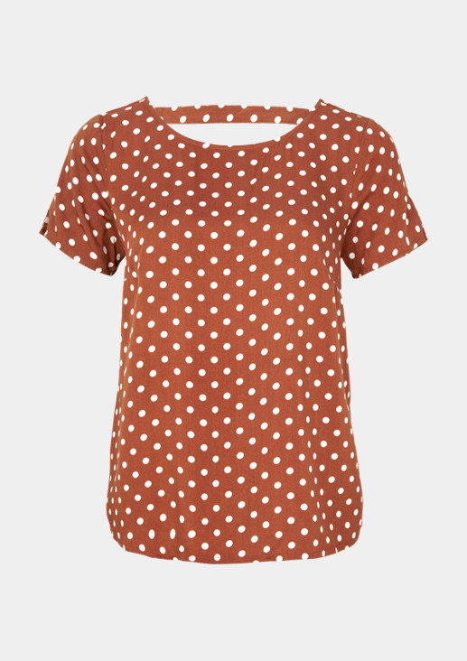 Short sleeve satin blouse with a polka dot pattern from comma