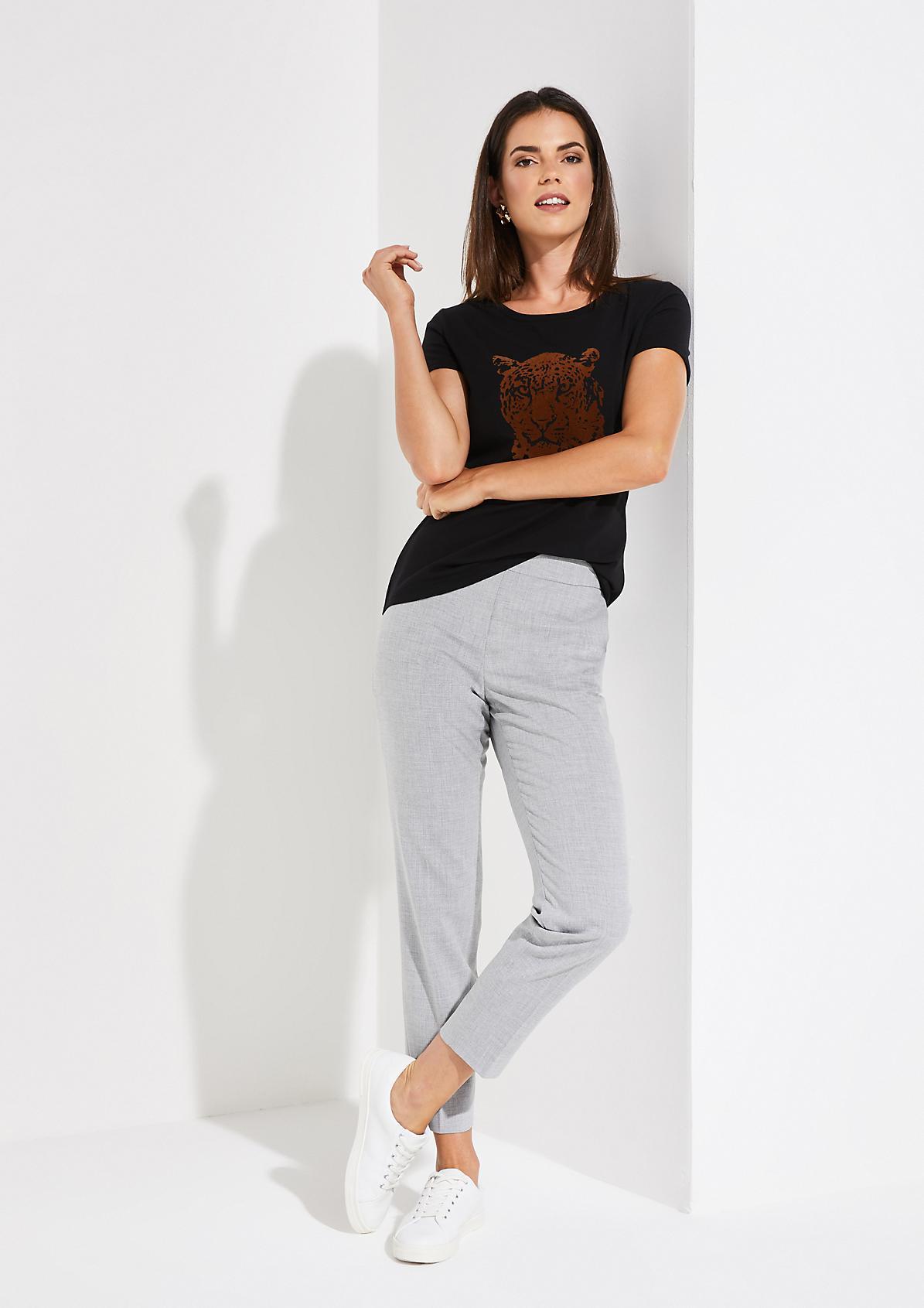 Kurzarm-Jerseyshirt mit dekorativem Frontprint