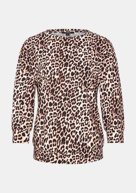 3/4-Arm Jerseysweater mit dekorativem Leopardenprint