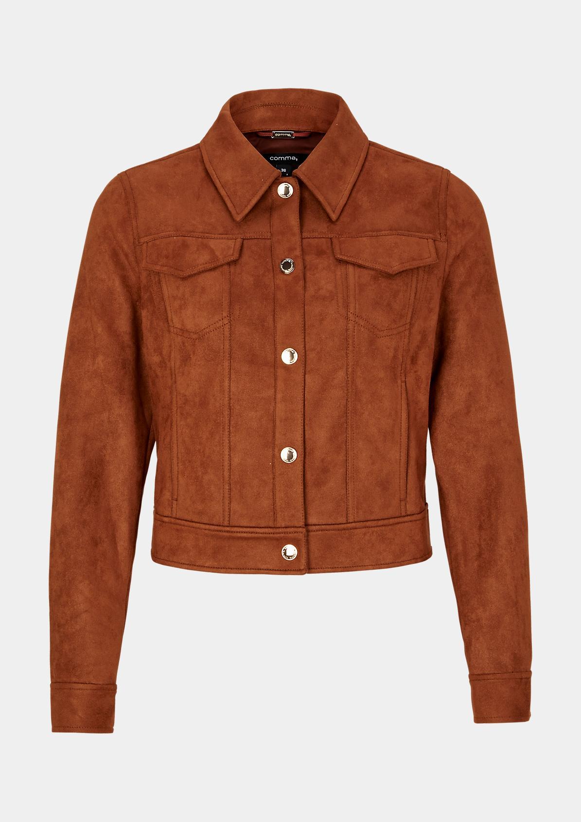 Jacke aus weichem Wildlederimitat