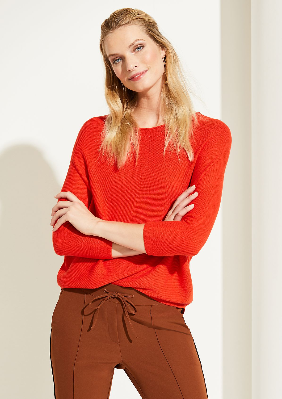 Fine knit jumper with batwing sleeves from comma