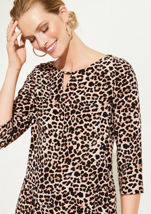 3/4-Arm Freizeitkleid mit glamourösem Leopardenmuster