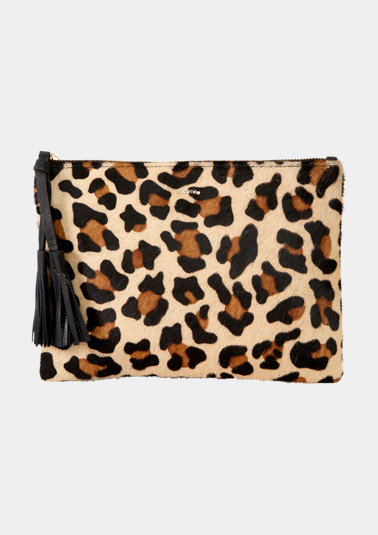 Evening bag with an elaborate leopard print pattern from comma