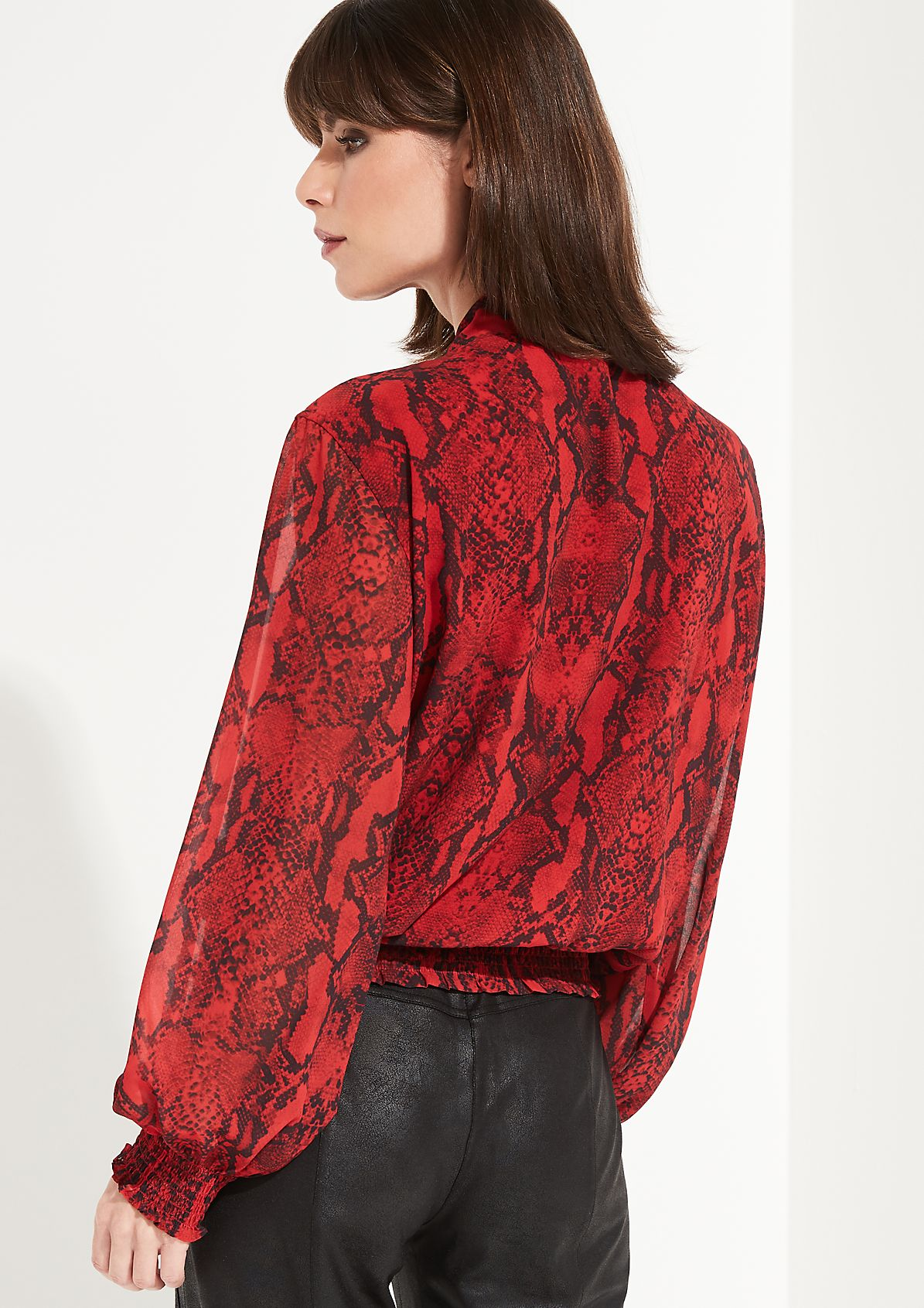 Langarmbluse mit dekorativem Snakeskin-Print
