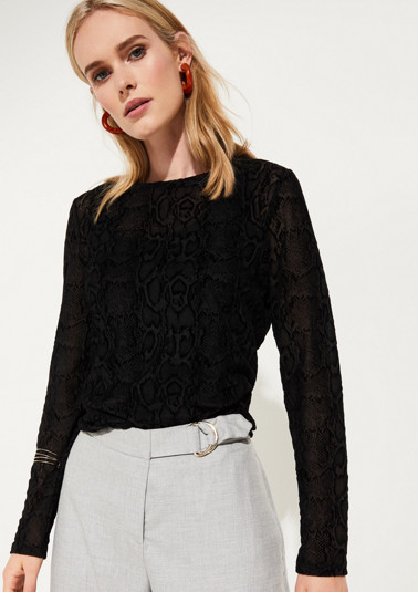 Delicate long sleeve mesh top with a snakeskin print from comma