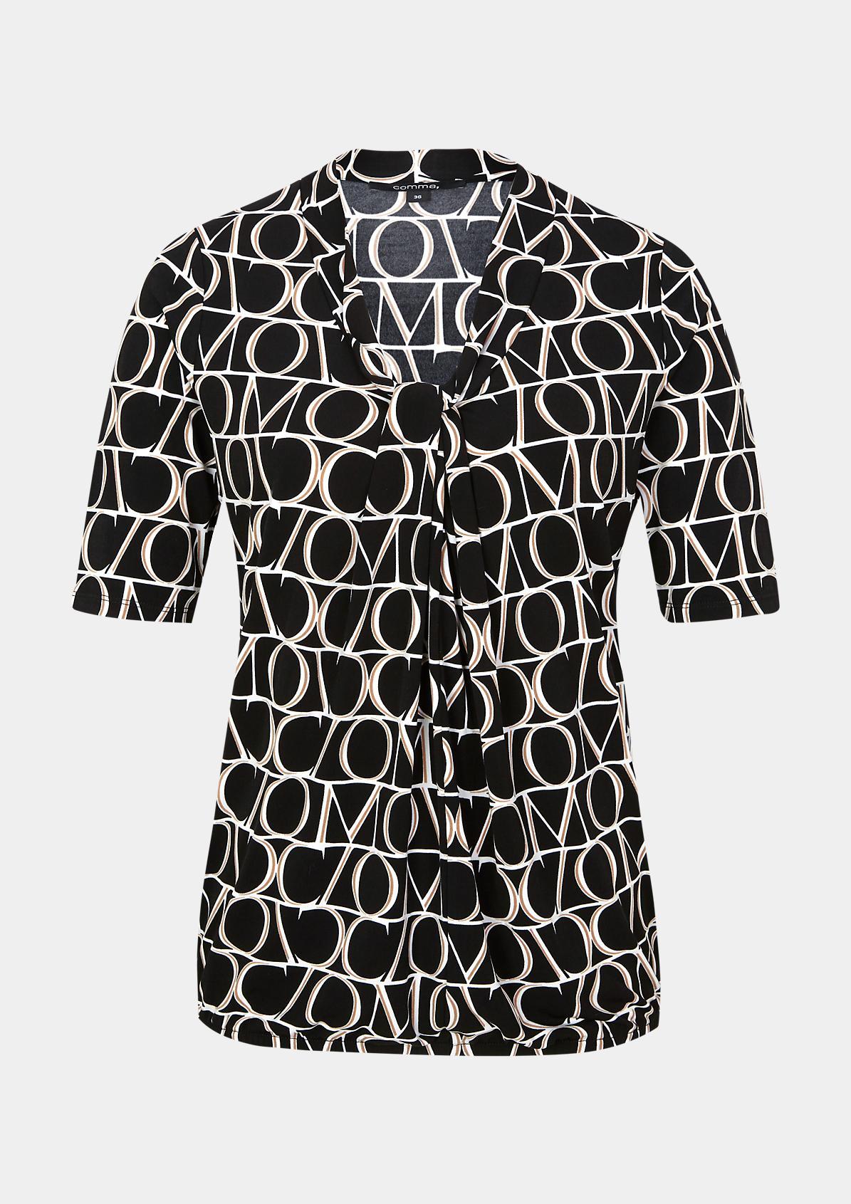 Kurzarm-Jerseyshirt mit Alloverprint