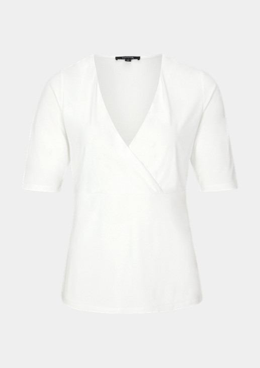 Kurzarmshirt aus Jersey in Wickeloptik