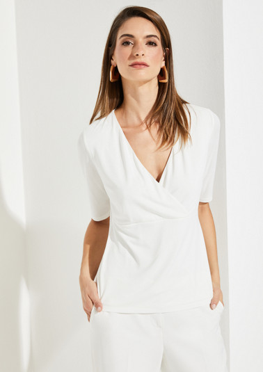 Short sleeve T-shirt made of jersey in a wrap-over look from comma