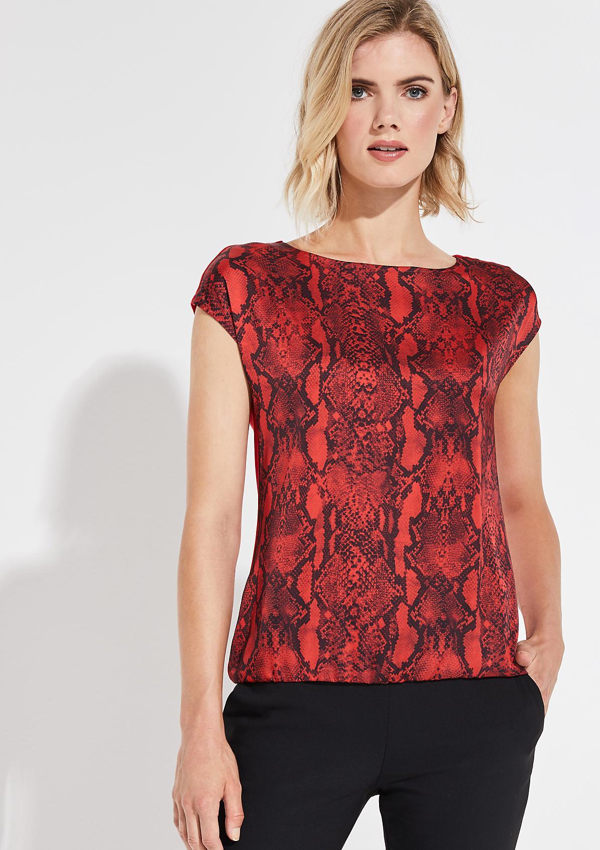 Shirt im smarten Materialmix mit Frontprint