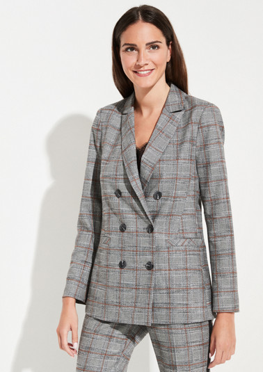 Double-breasted long blazer with a Prince of Wales check pattern from comma