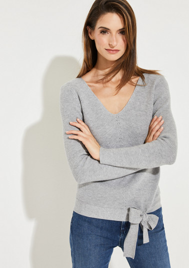 Knitted jumper with 3/4-length sleeves and a decorative bow from comma