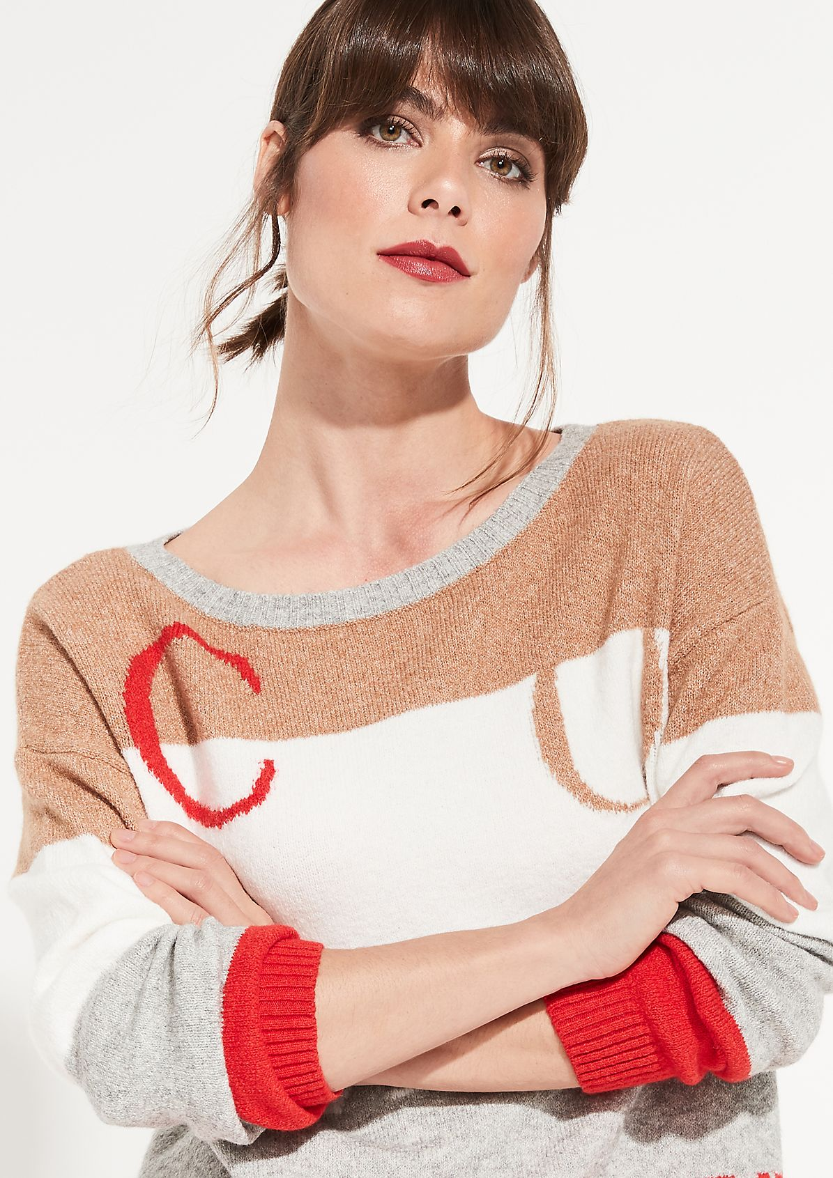 Cosy knitted jumper with a fine pattern from comma