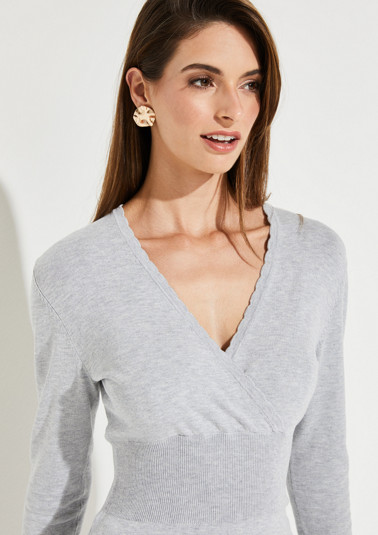 Fine knit jumper with a sophisticated wrap-over effect from comma