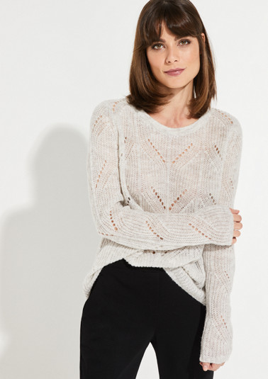 Lightweight knitted jumper with a decorative open-work pattern from comma