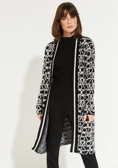 Long cardigan with a decorative two-tone pattern from comma