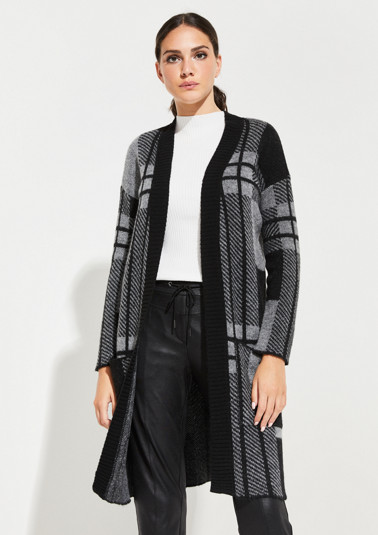 Longstrickjacke mit dekorativem Two Tone-Muster