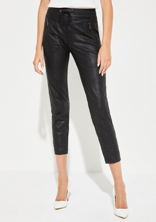 Trousers in soft faux leather from comma