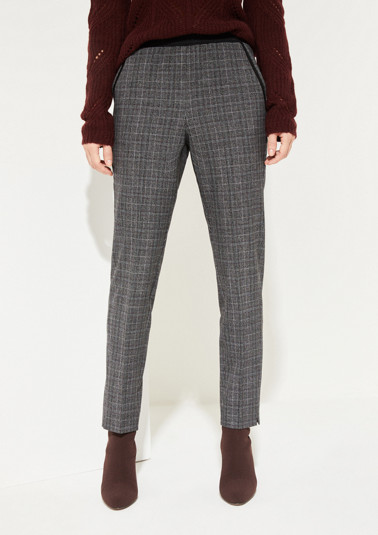 7/8-length lounge trousers with a check pattern from comma
