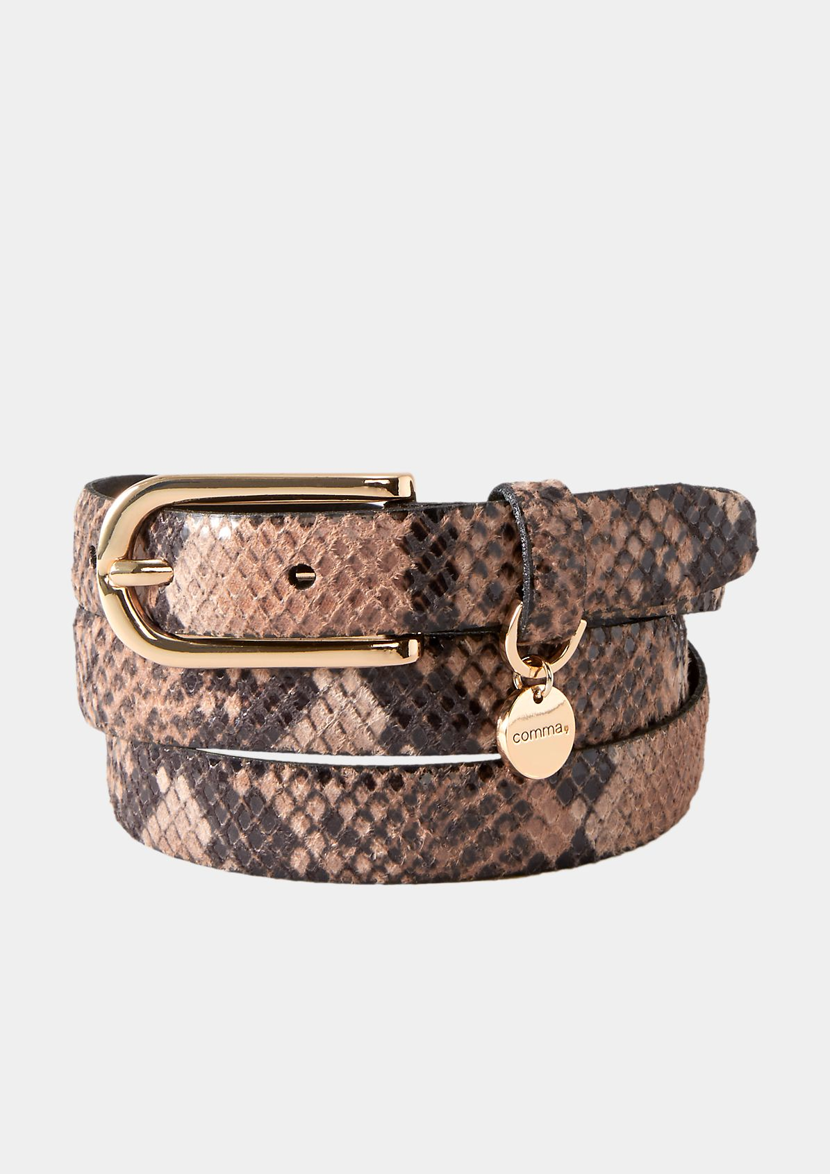 Schmaler Gürtel mit Snakeskin-Muster