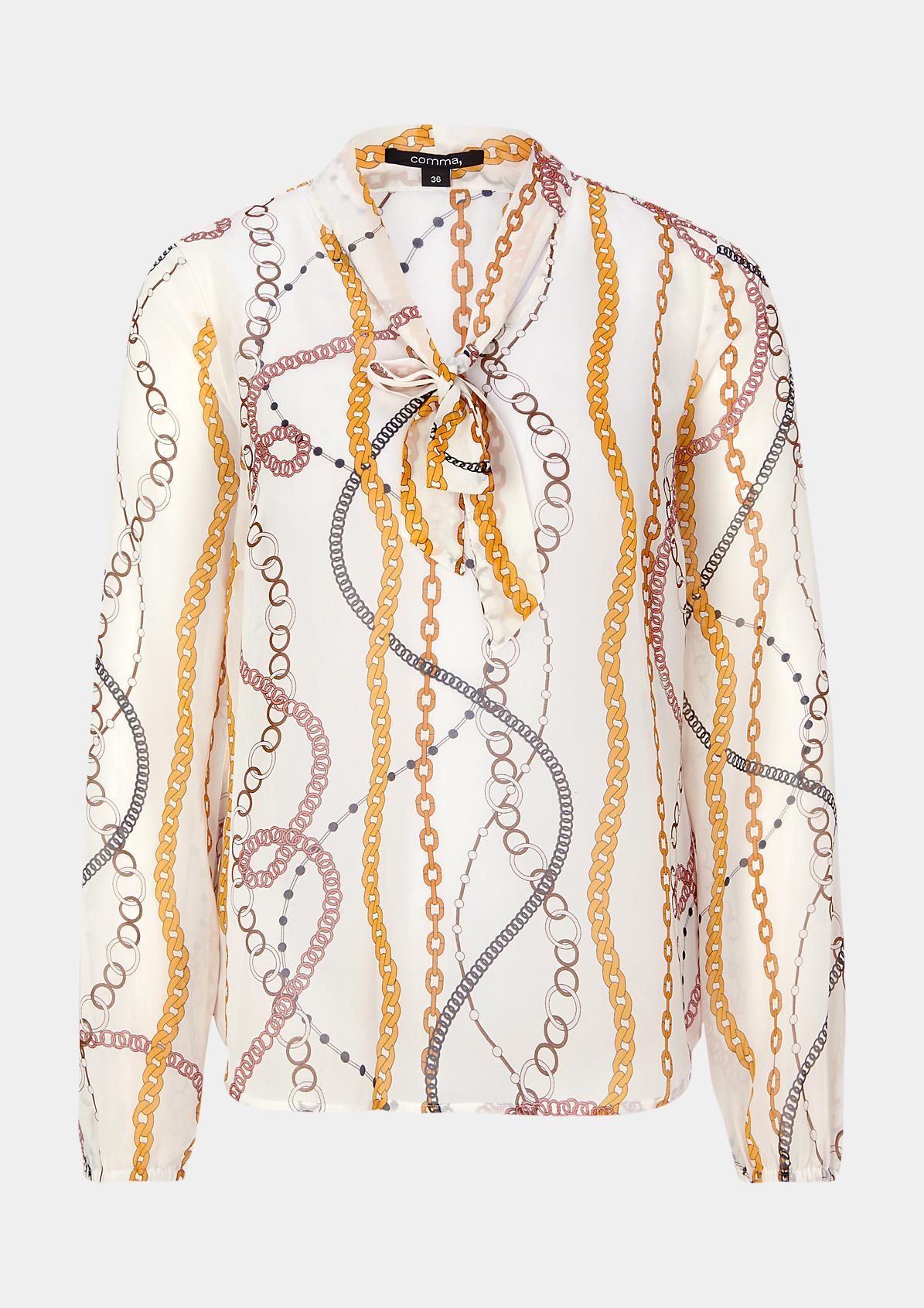 Zarte Langarmbluse mit dekorativem Allovermuster