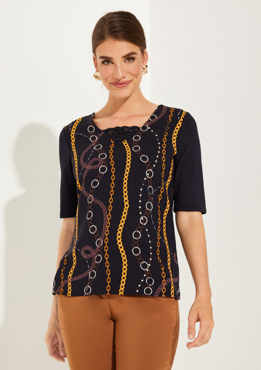 Patterned shirt with delicate lace embellishments from comma